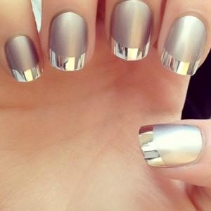 Маникюр металлик на короткие ногти